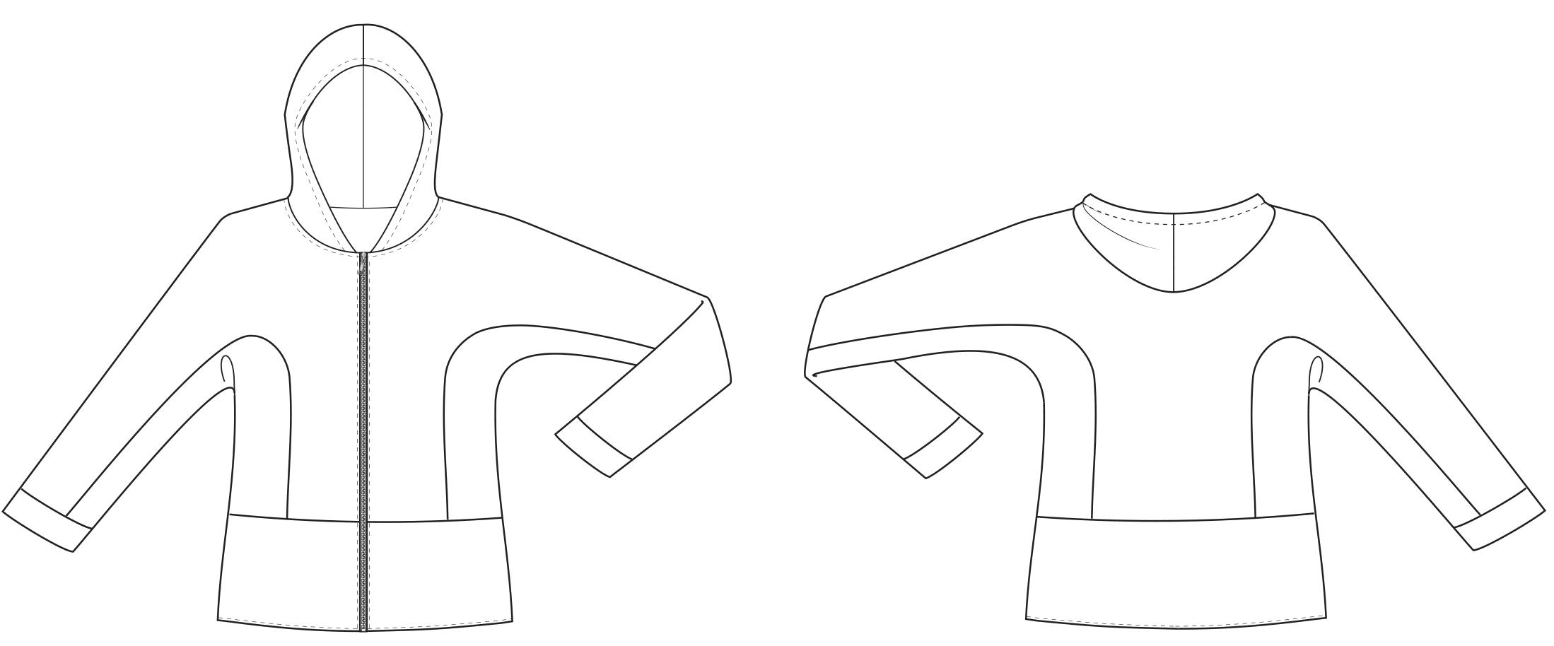 Technische Zeichnung einer Kinderjacke welche gradiert wird.
