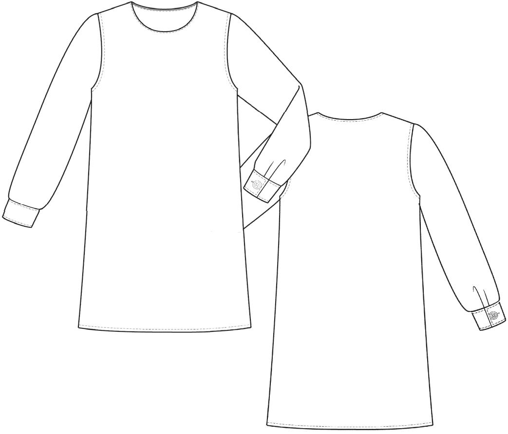 Technische Zeichnung eines Kinderkleides welches gradiert wird.