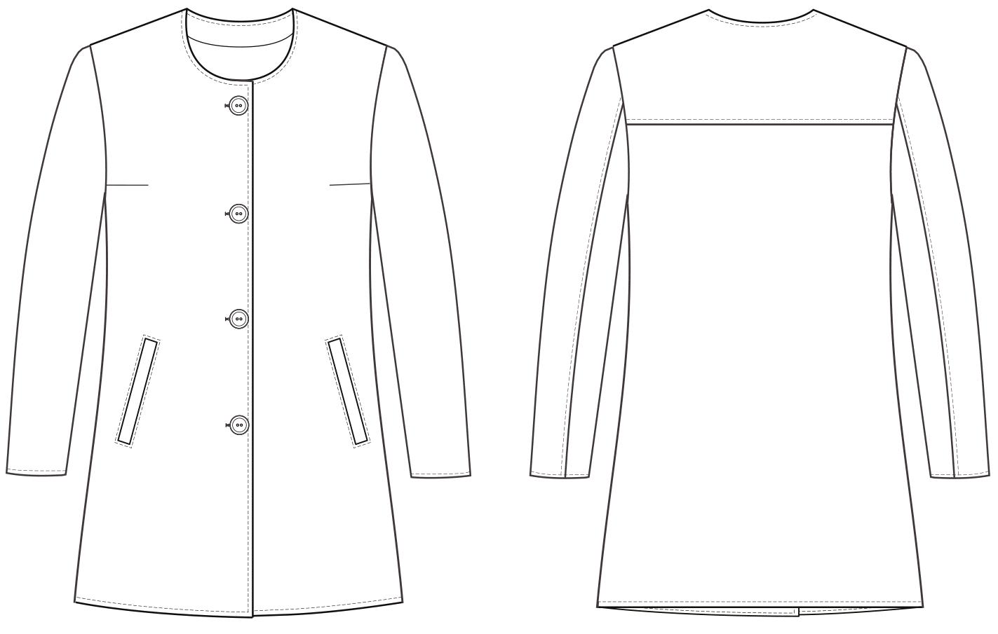 Technische Zeichnung eines Kinder Mantels