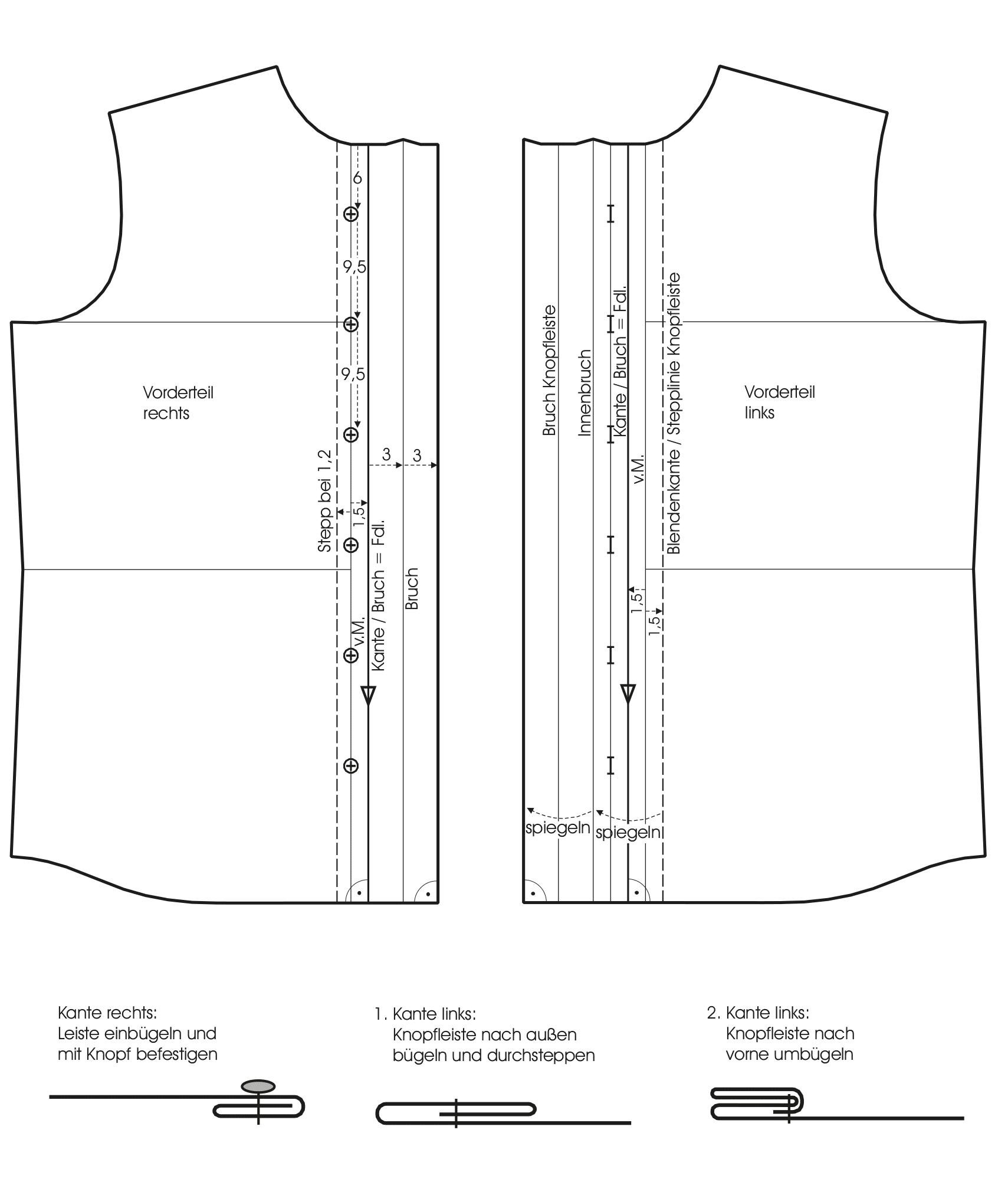 Die Schnitttechnik für ein hemd mit Fachkragen ist zu sehen.