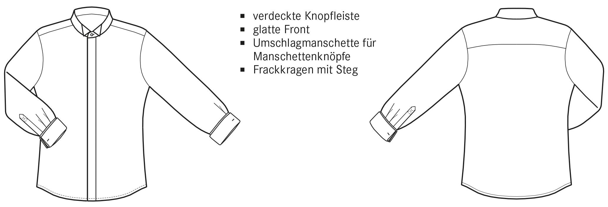 Die technische Zeichnung von einem Hemd mit Frackkragen ist abgebildet.
