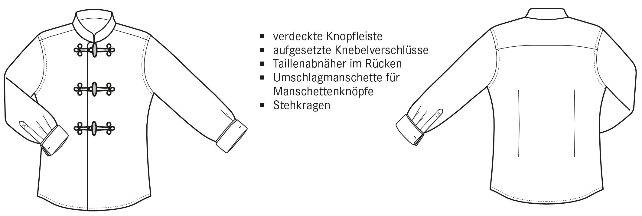 Die technische Zeichnung von einem Hemd mit Knebelverschluss ist abgebildet.