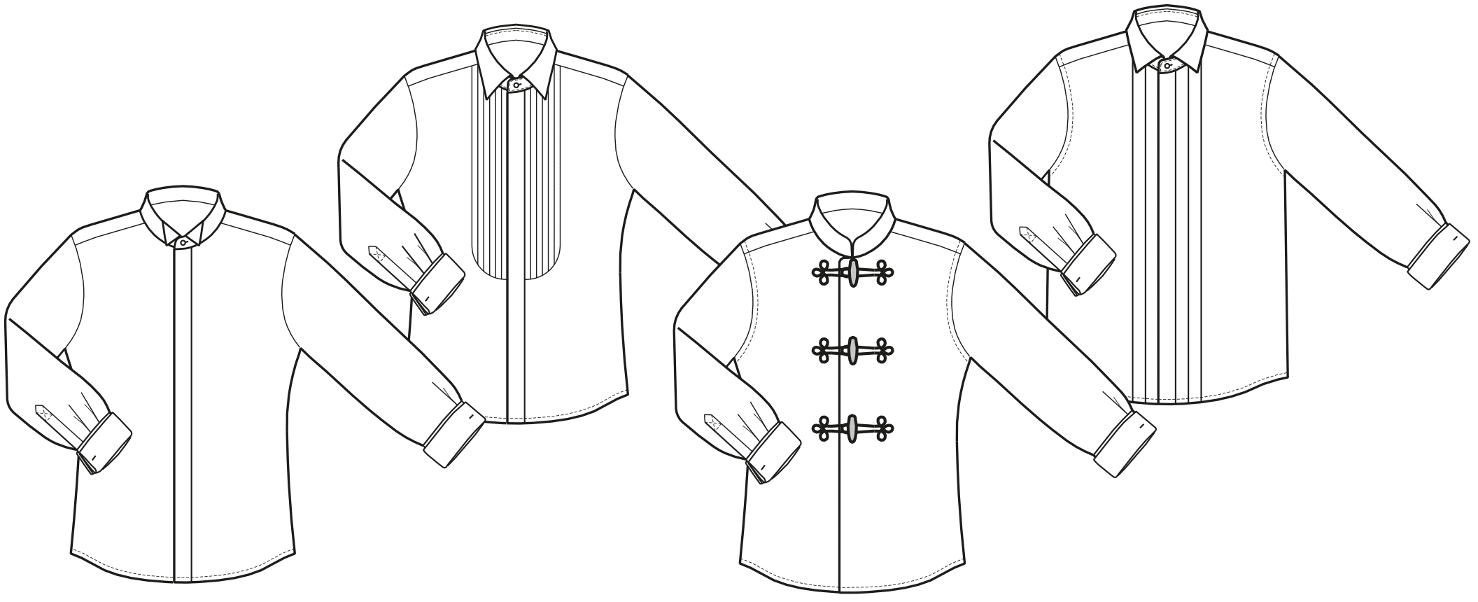Technische Zeichnungen von Hemden in Bauchgröße für Dirigenten ist abgebildet.