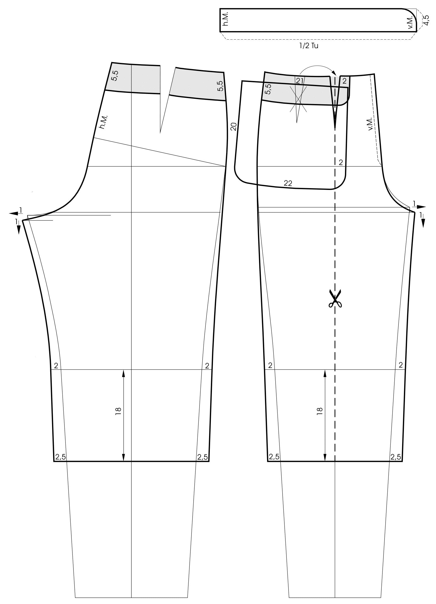 Die Schnitttechnik von einem Bund für eine Hose mit Golffalten ist zu sehen.
