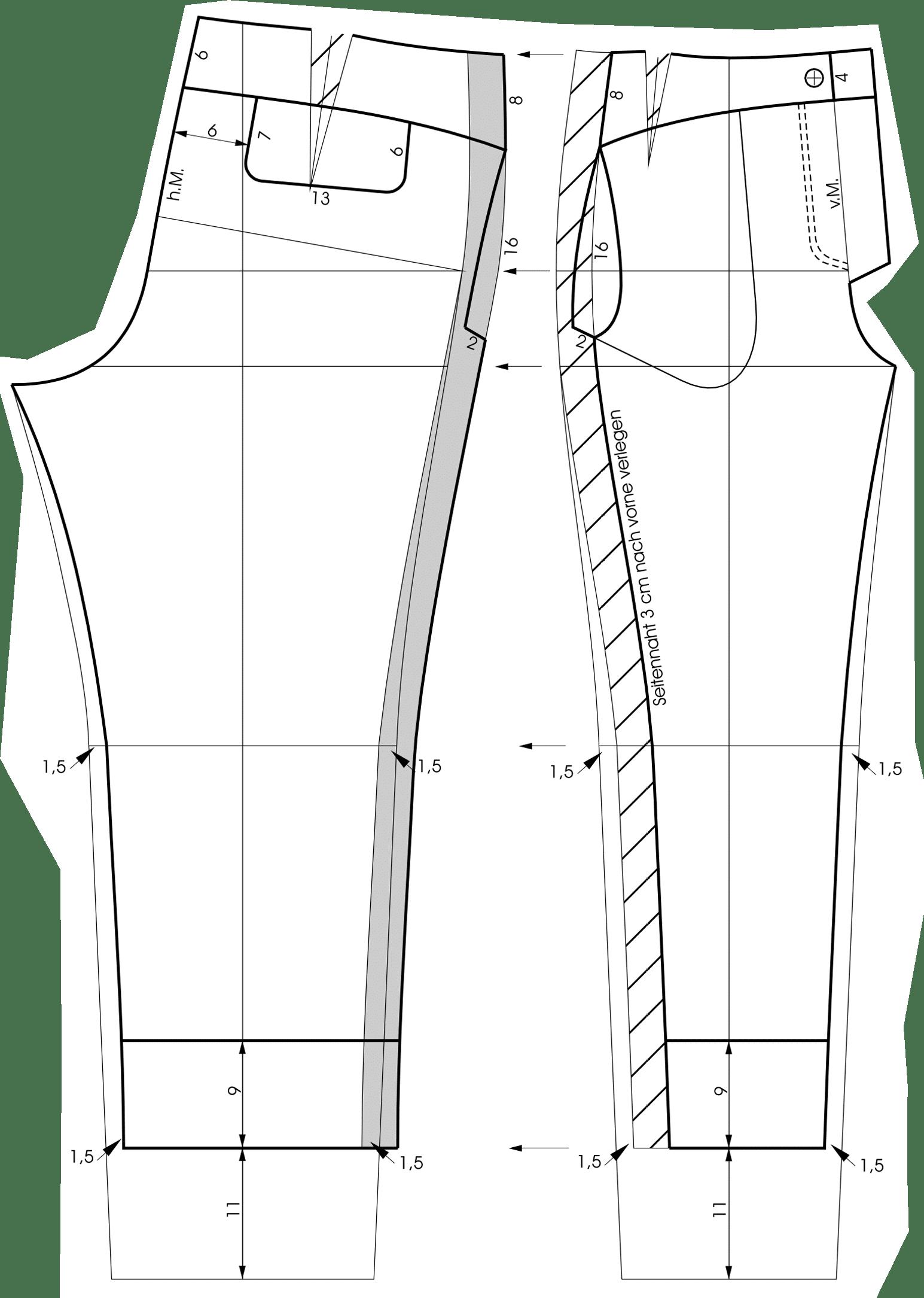 Die Schnitttechnik von einem Bund für eine Hose mit Passe ist zu sehen.