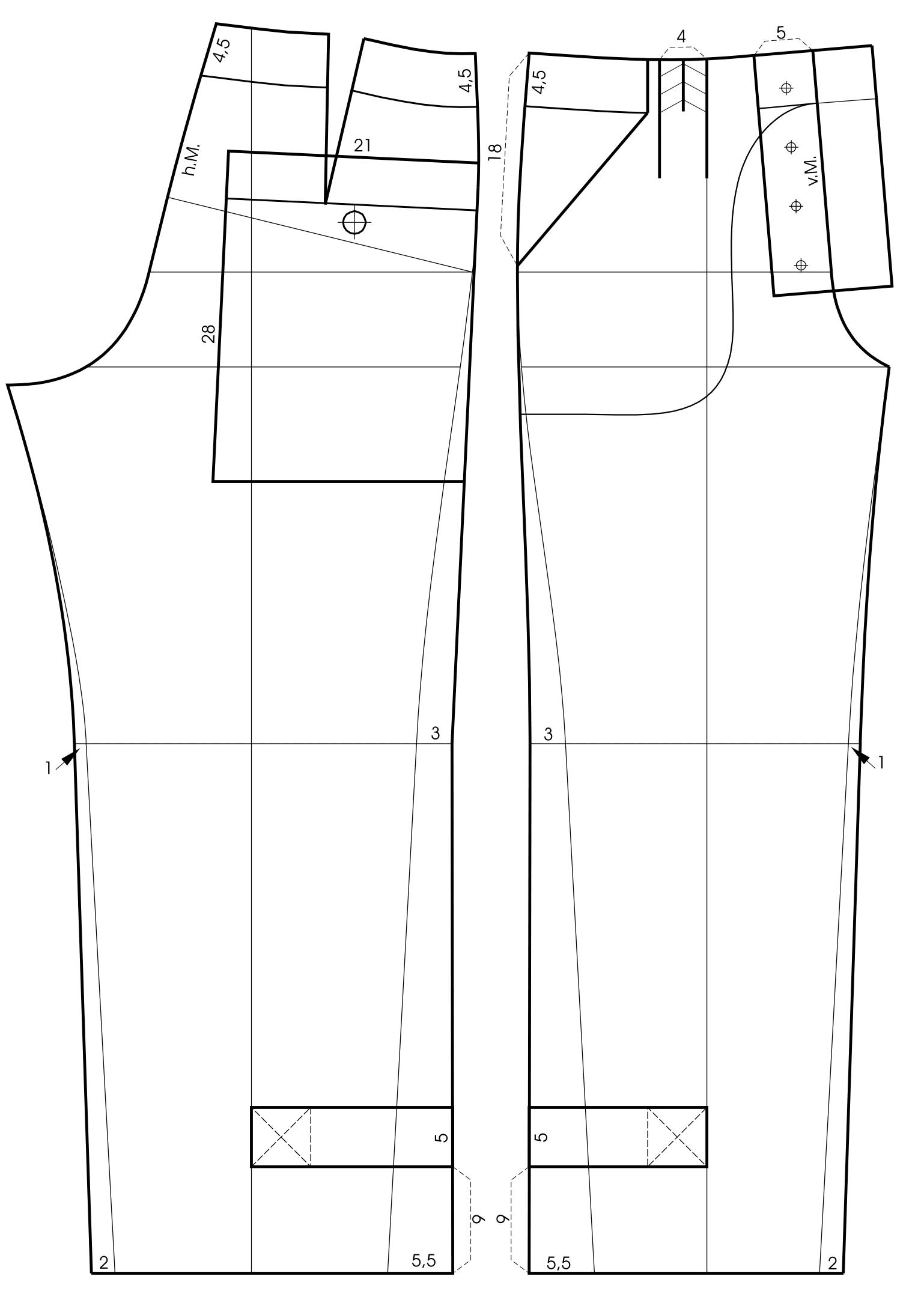 Die Schnitttechnik von einem Bund für eine Hose mit Schnürverschluss ist zu sehen.