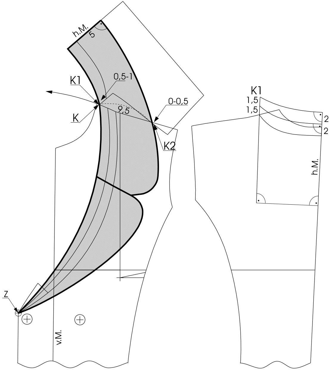 Die Schnitt-Technik des Kragens eines Doppelreiher ist zu sehen