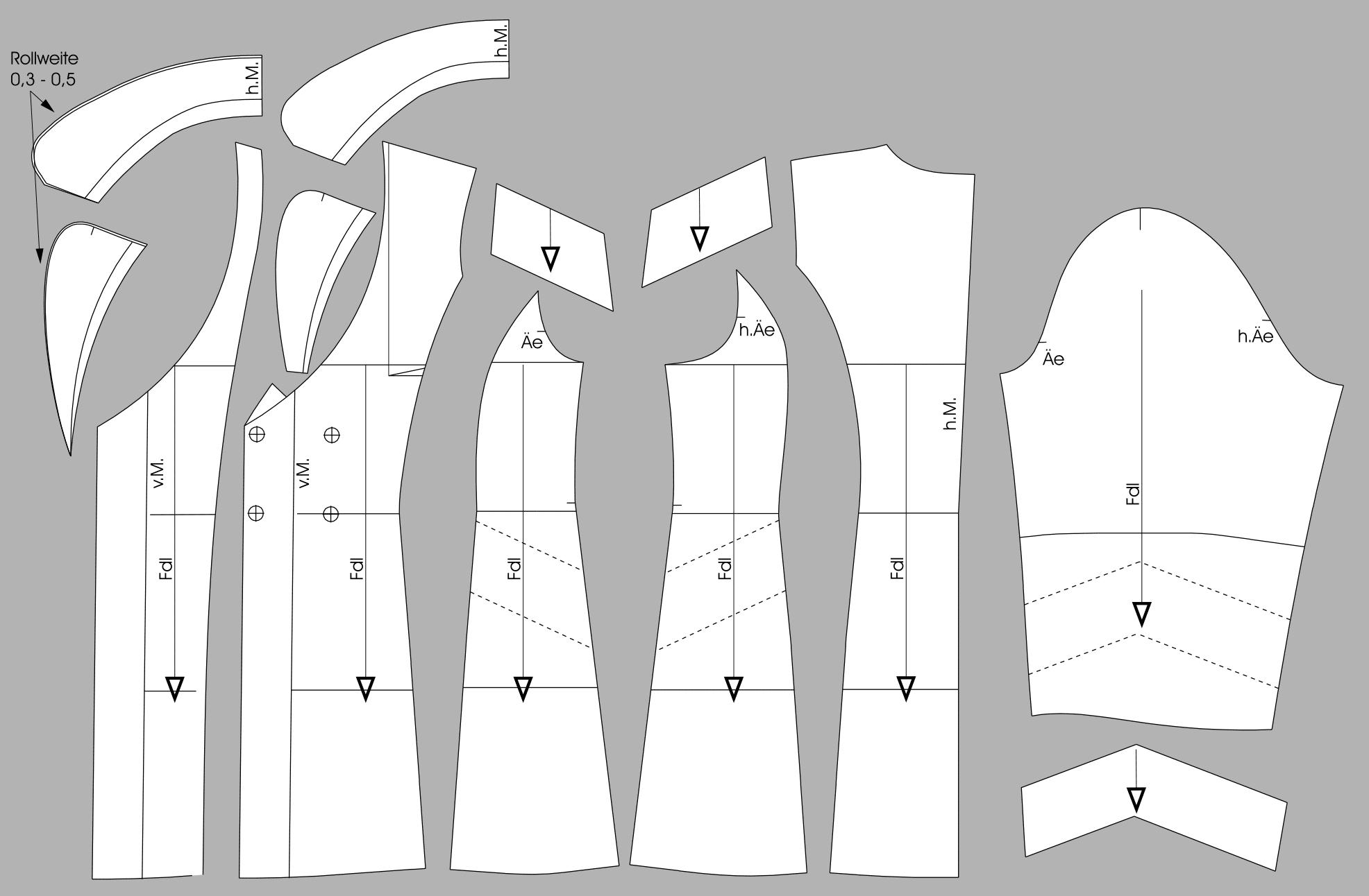 Die fertigen Schnittteile eines Doppelreiher Mantels sind nebeneinander abgebildet.