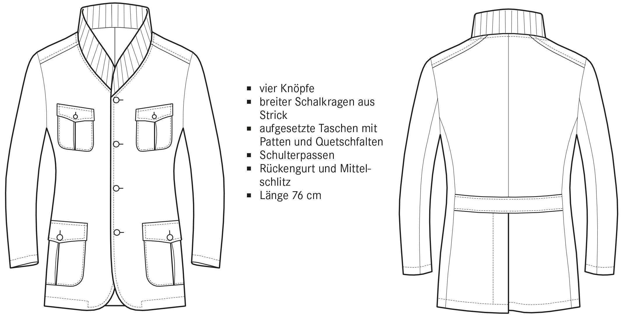Technische Zeichnung einer Jacke mit Stickkragen Vorder- und Rückansicht.