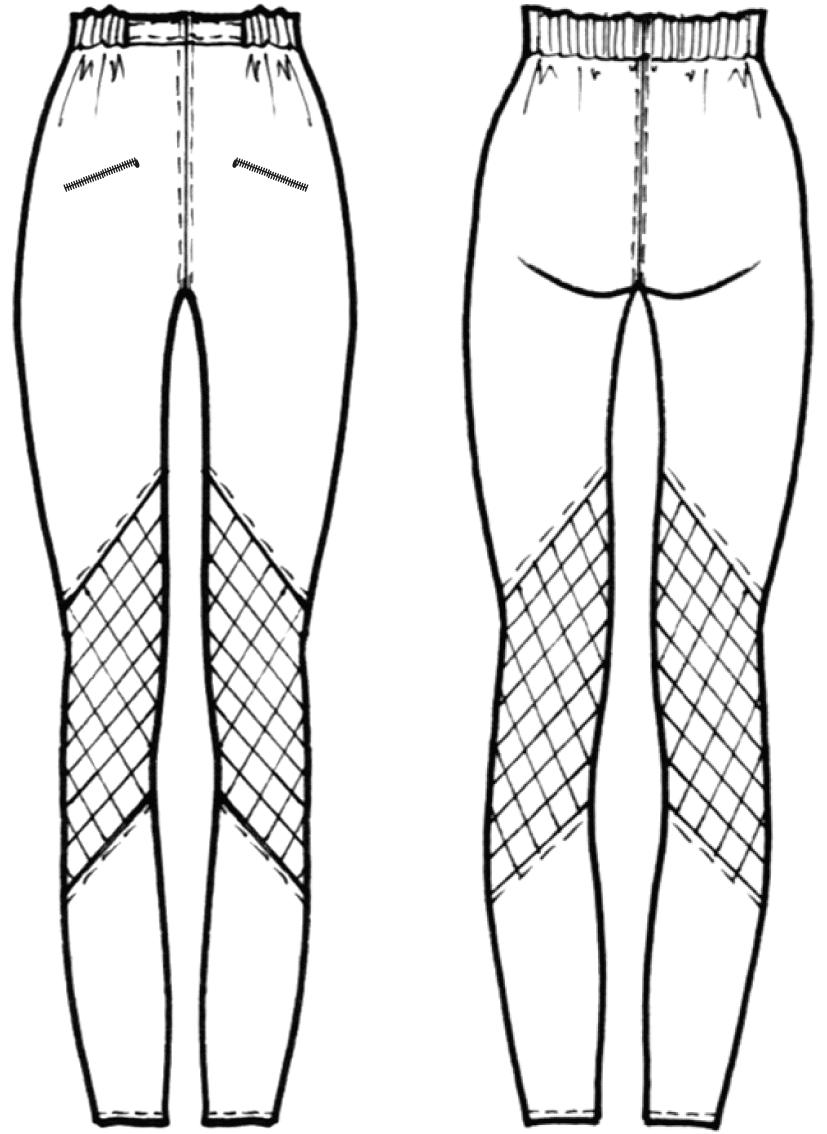 Technische Zeichnung der Vorder- und Rückansicht einer Leggings.