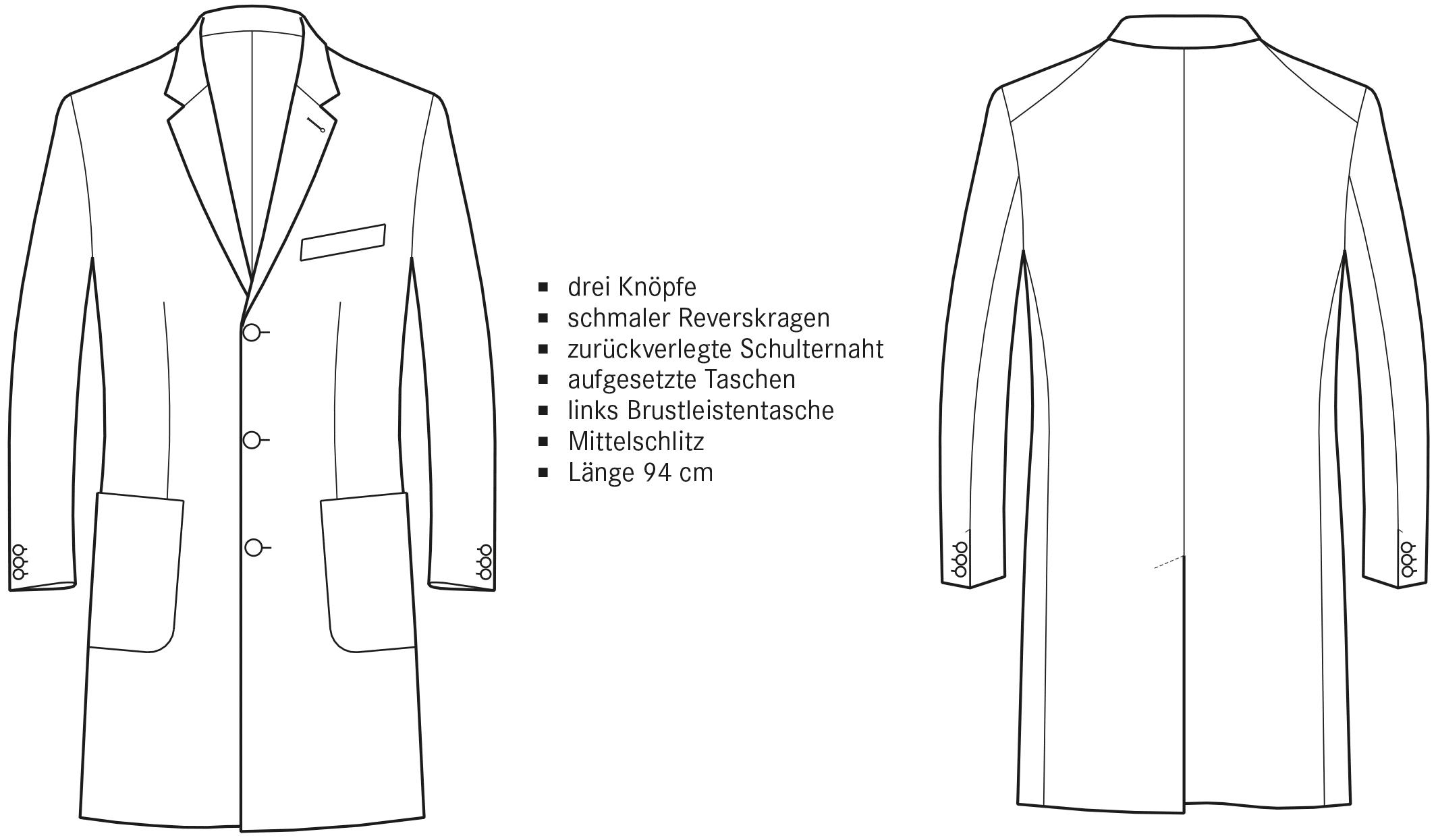echnische Zeichnung eines Jersey Mantels Vorder- und Rückansicht.