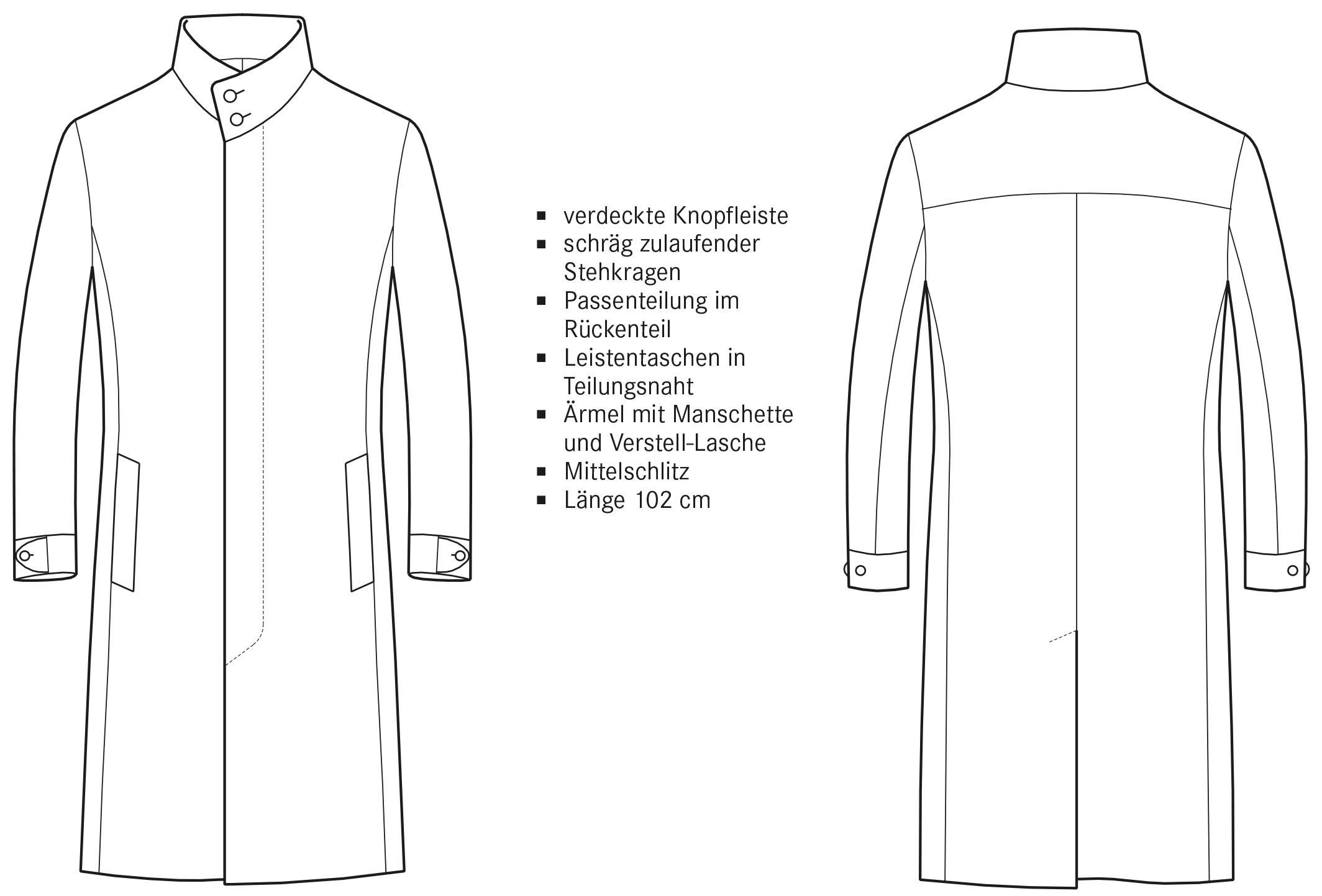 Die technische Zeichnung eines Mantels mit Stehkragen ist abgebildet. Die Vorder- und Rückansicht inklusive Beschreibung der Schnitttechnik ist zu sehen.