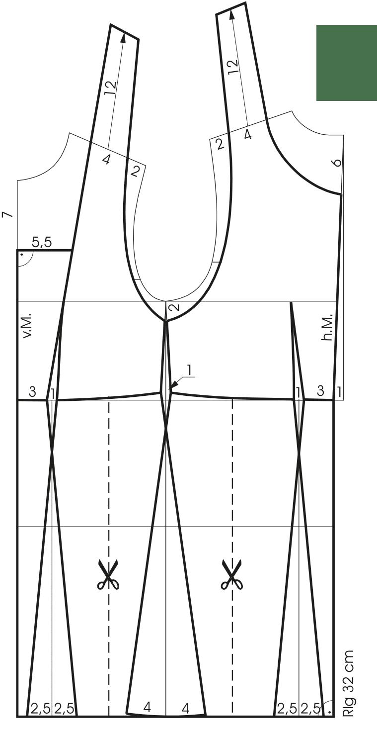 Die Abbildung zeigt die Schnitttechnik eines Kinderdirndls mit Mieder.
