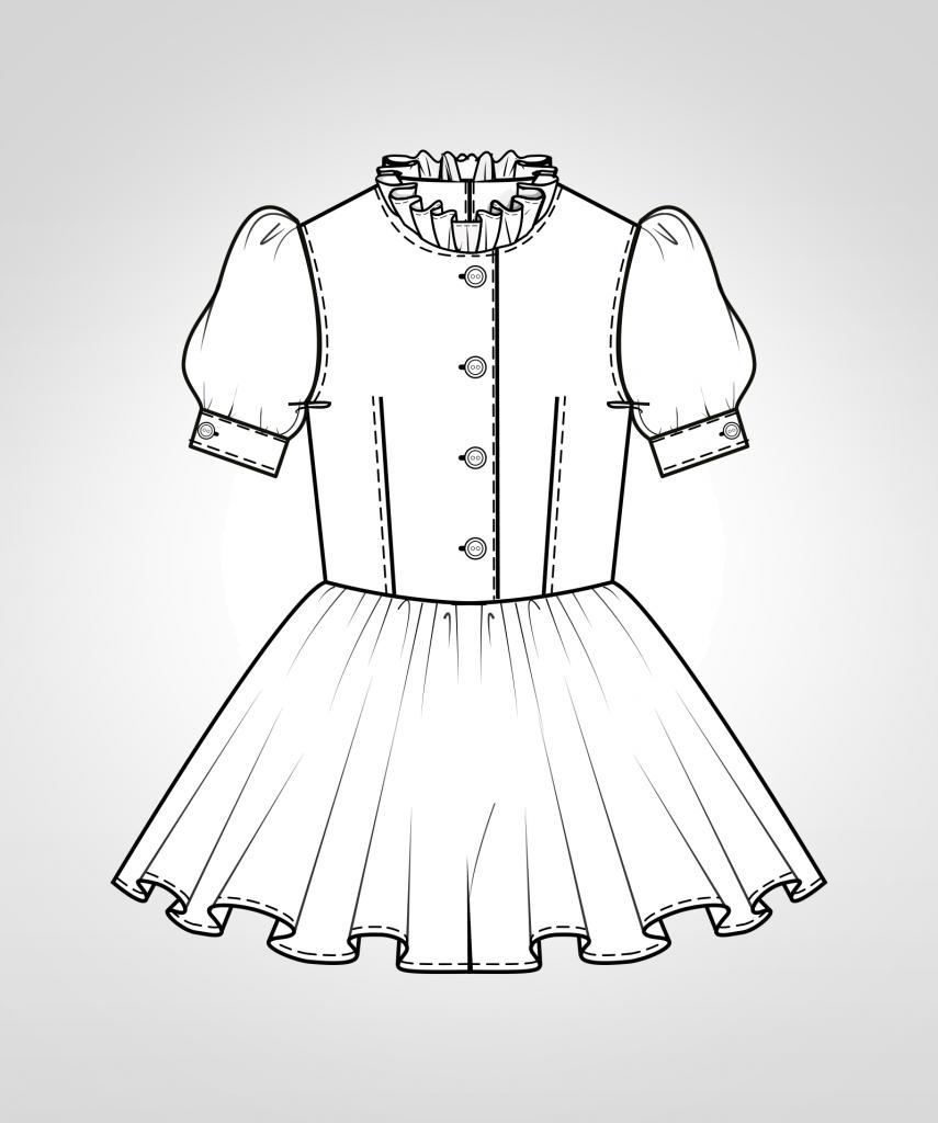 Diese technische Zeichnung zeigt die Vorder-und Rückansicht von eines Dirndl-Kleides für Kinder Dieses Modell gibt es als Schnittmuster.