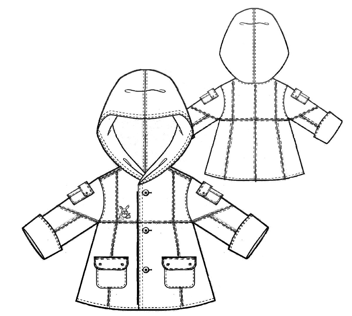 Zeigt die technische Zeichung einer Kinderjacke. Diese Zeichnung dient als Vorlage für die Schnittkonstruktion.