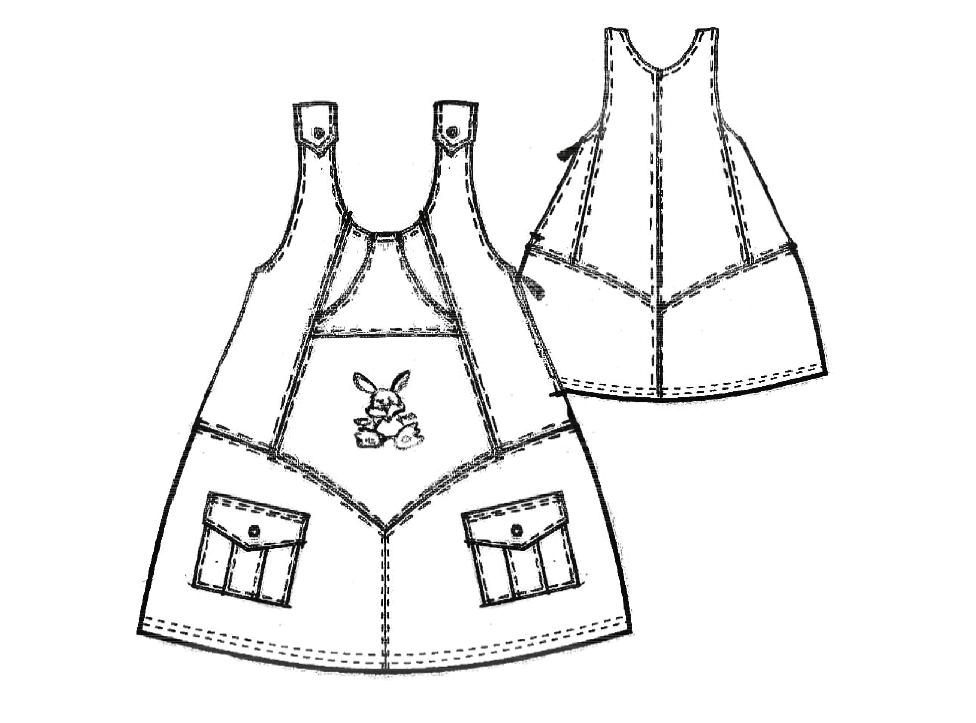 Zeigt die technische Zeichung eines Trägerkleides. Diese Zeichnung dient als Vorlage für die Schnittkonstruktion.
