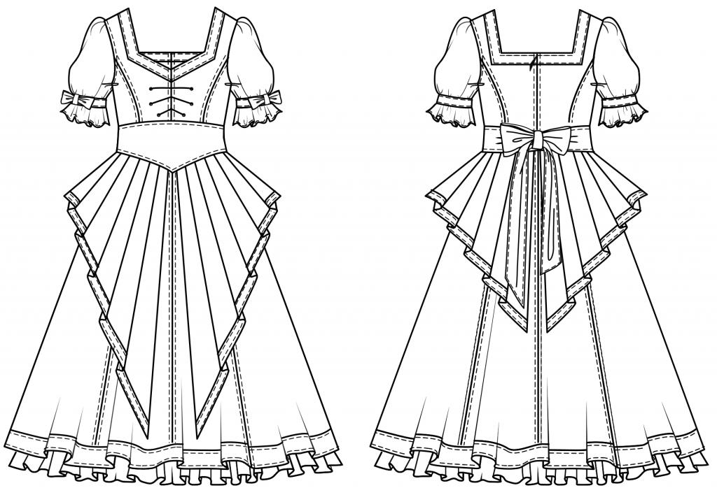 Diese technische Zeichnung zeigt die Vorder-und Rückansicht von eines Dirndl-Kleides für Kinder. Es ist die Vorlage für die Schnittkonstruktion.