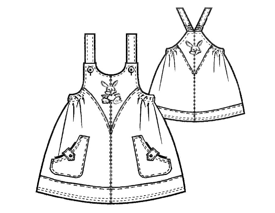 Zeigt die technische Zeichung eines Trägerrockes. Diese Zeichnung dient als Vorlage für die Schnittkonstruktion.
