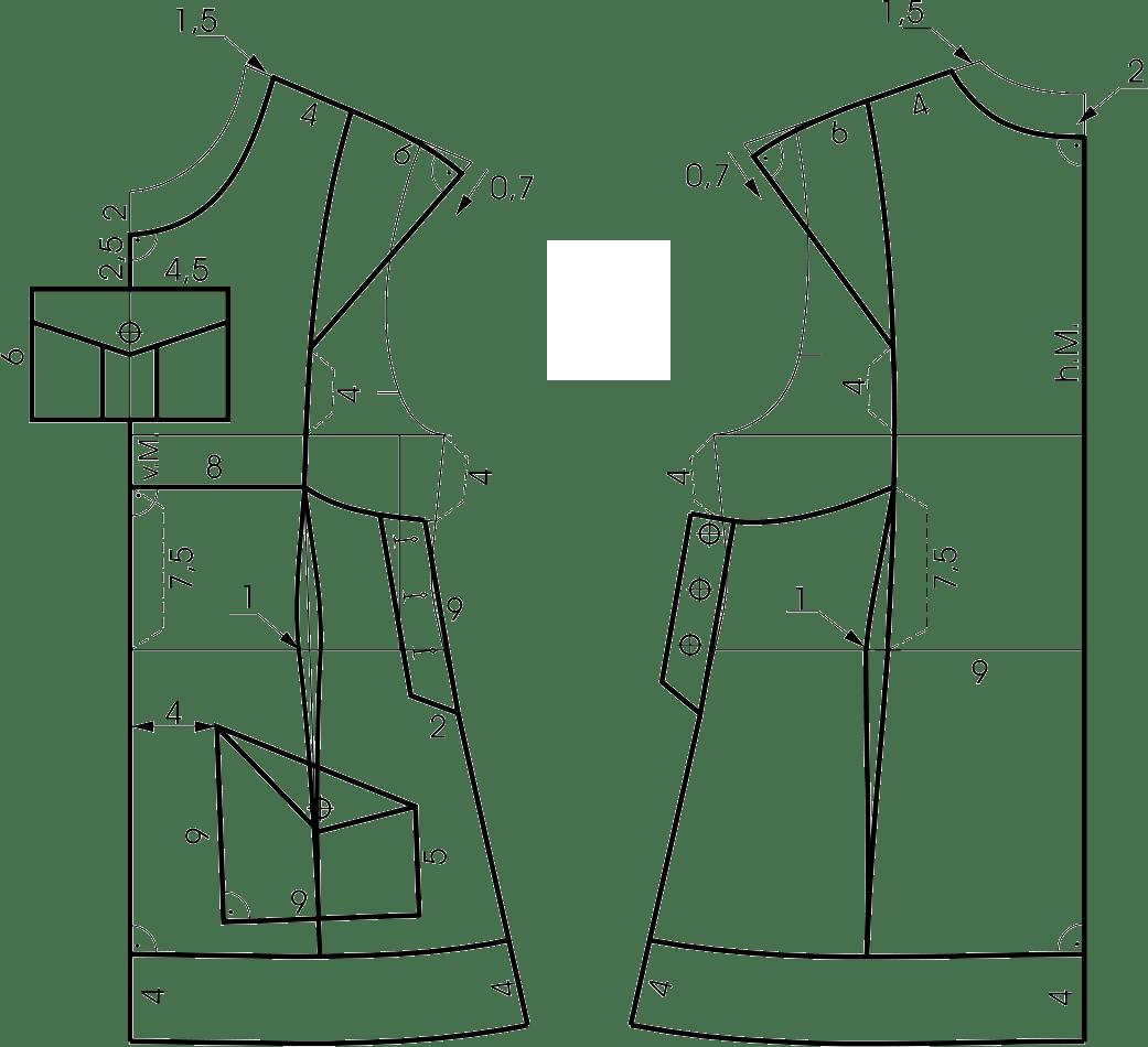 Die Abbildung zeigt eine Konstruktion für ein Kleid für Mädchen in der Größe 104.