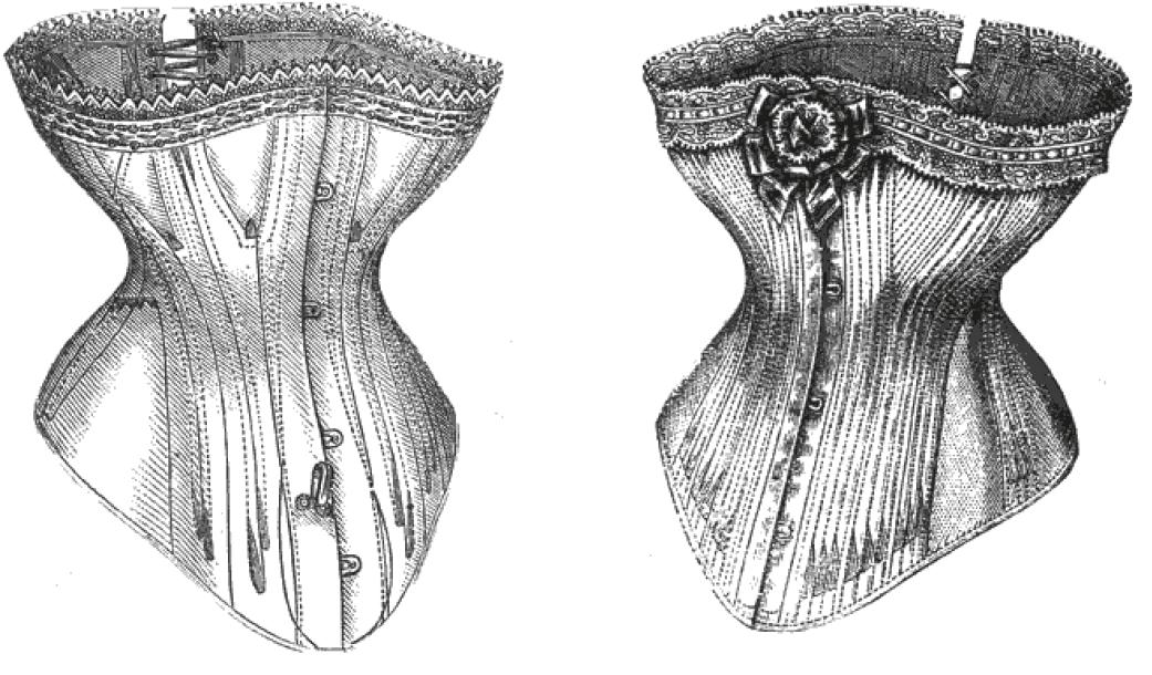 Abgebildet ist eine Zeichnung eines Korsetts.