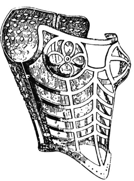 Abgebildet ist eine Zeichnung eines Korsetts aus Metall.