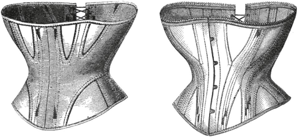 Abgebildet ist eine Zeichnung eines Korsetts aus Stoffbahnen.