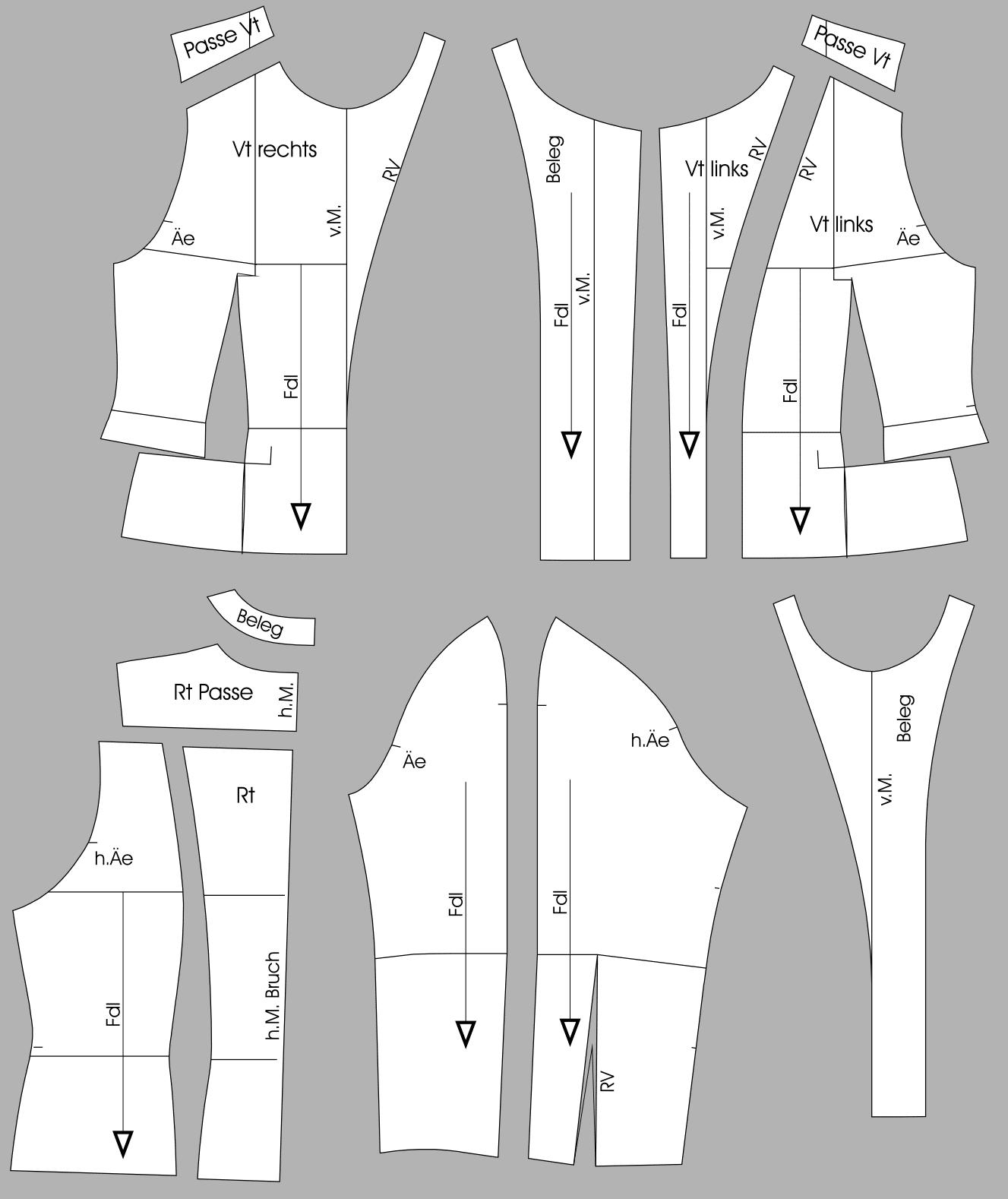 Die fertigen Schnittteile einer kragenlose Jacke sind angebildet.