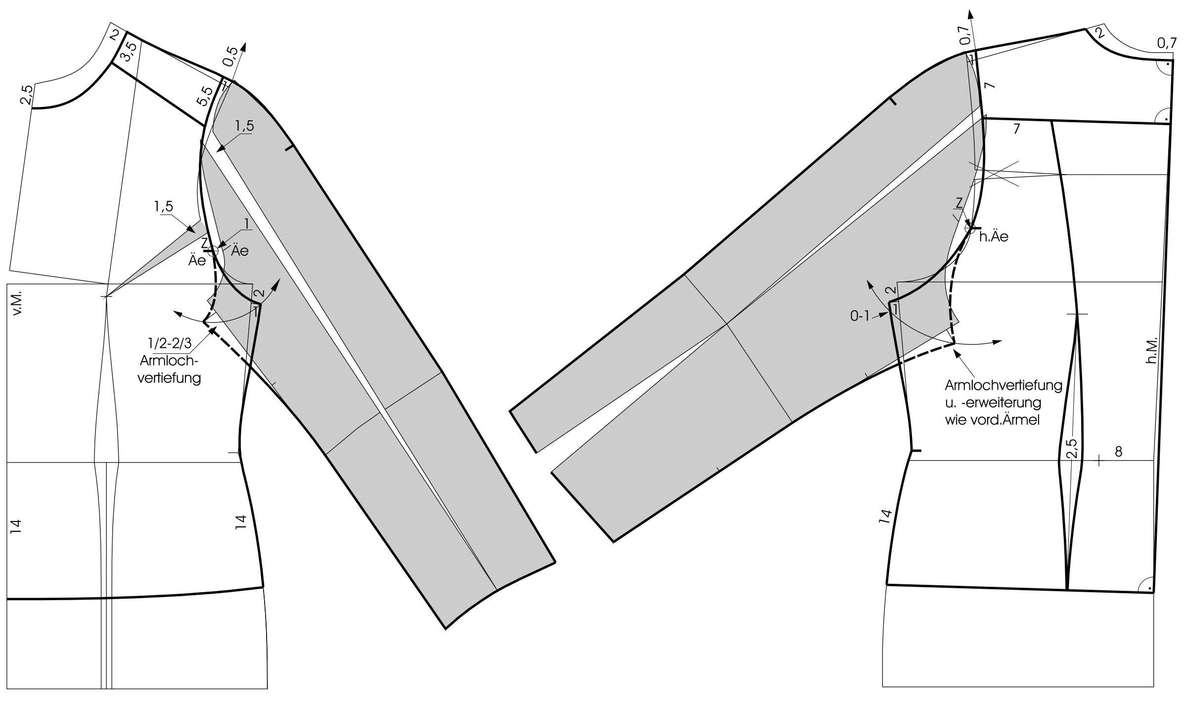 Die Schnitttechnik einer kragenlosen Jacke mit Raglanärmeln ist zu sehen.