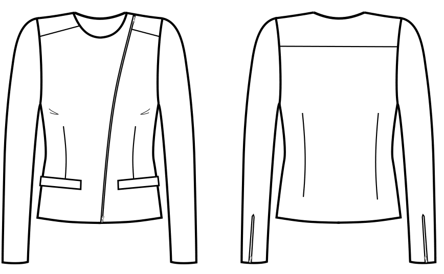 Die technische Zeichnung einer Jacke ist abgebildet. Diese wird in der Schnitt-Technik umgesetzt.