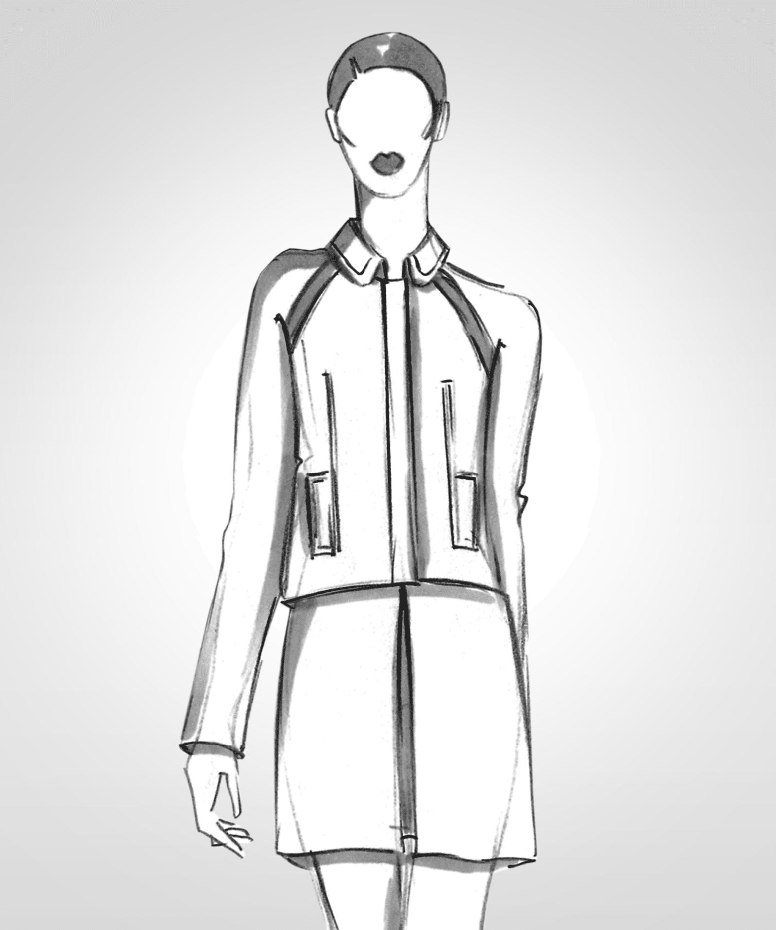 Die Modellzeichnung einer Jacke mit Reißverschluss und Raglanärmeln ist zu sehen.