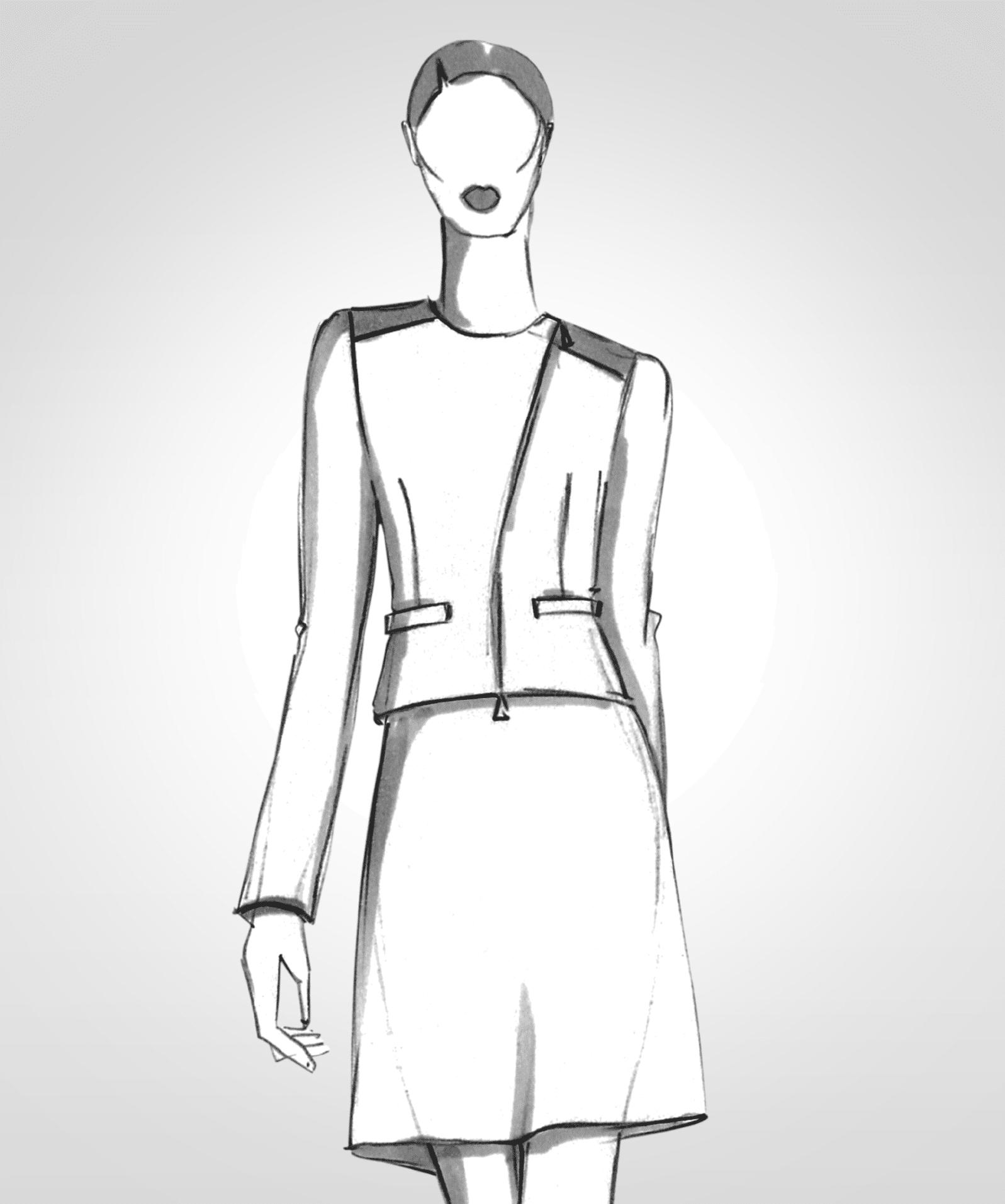 Die Modellzeichnung einer kragenlosen Jacke mit Reißverschluss ist zu sehen.