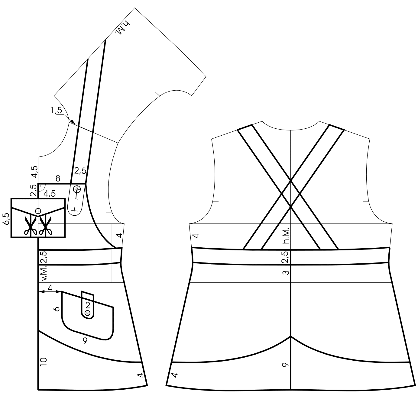 Die Schnittkonstruktion eines Latzrockes für Kinder Größe 104 ist zu sehen.