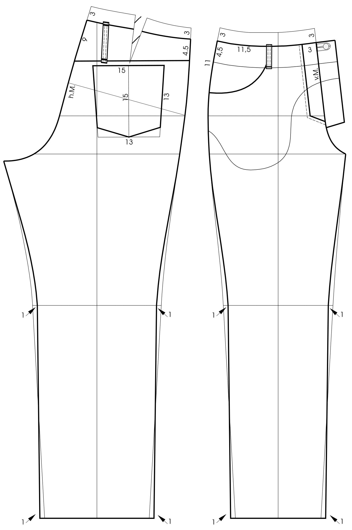 Die Schnitttechnik von einem Bund für eine Lederjeans mit Fransen ist zu sehen.