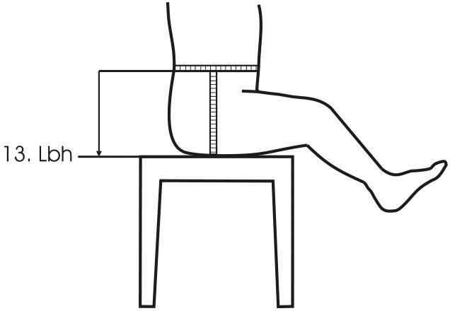 Maßnehmen von Babys. Eine Zeichnung von einem Baby mit den Maßen ist abgebildet.