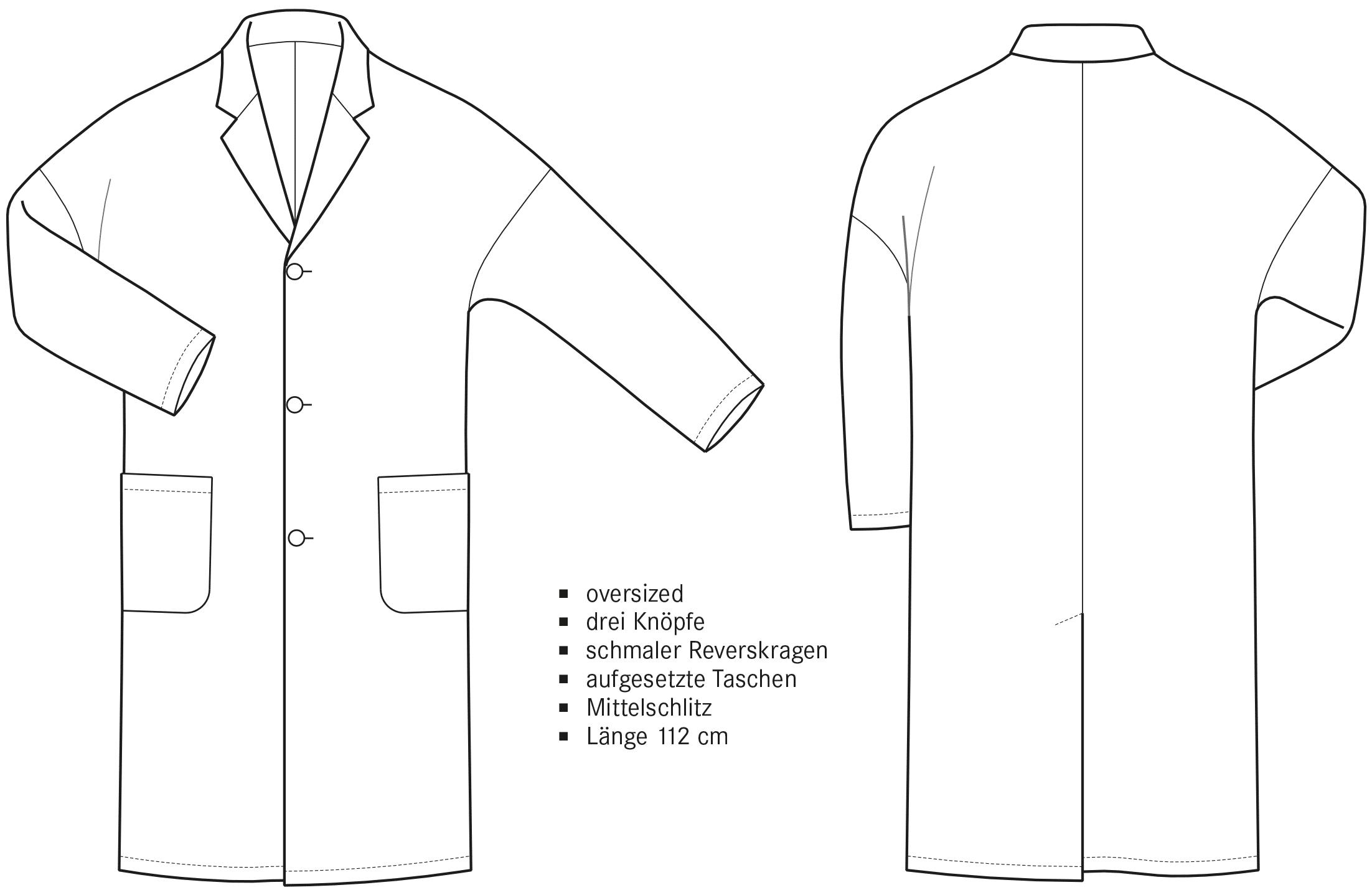 Die technische Zeichnung eines Mantels mit stark überschnittener Schulter ist abgebildet. Die Vorder- und Rückansicht inklusive Beschreibung der Schnitttechnik ist zu sehen.