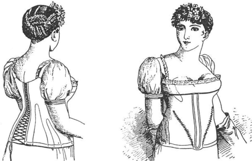 Abgebildet ist eine Zeichnung eines Nion Korsetts. um 1800.