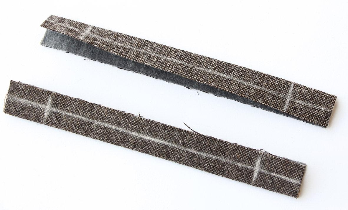 Zu sehen sind die beiden einzelnen Paspel in der Mitte zusammen gebügelt und mit Kreide markiert.