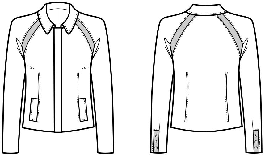 Die technische Zeichnung einer Raglanjacke ist zu sehen. Abgebildet sind Vorder- und Rückansicht