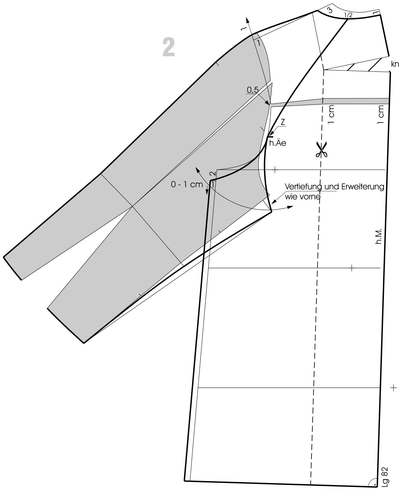 Die Schnittkonstruktion des Rückenteils und Raglanärmels ist zu sehen.
