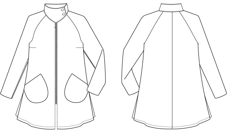 Die technische Zeichnung einer Raglanjacke ist zu sehen.