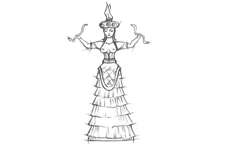 Abgebildet ist eine Zeichnung eines Korsetts. Eine Schlangengöttin.