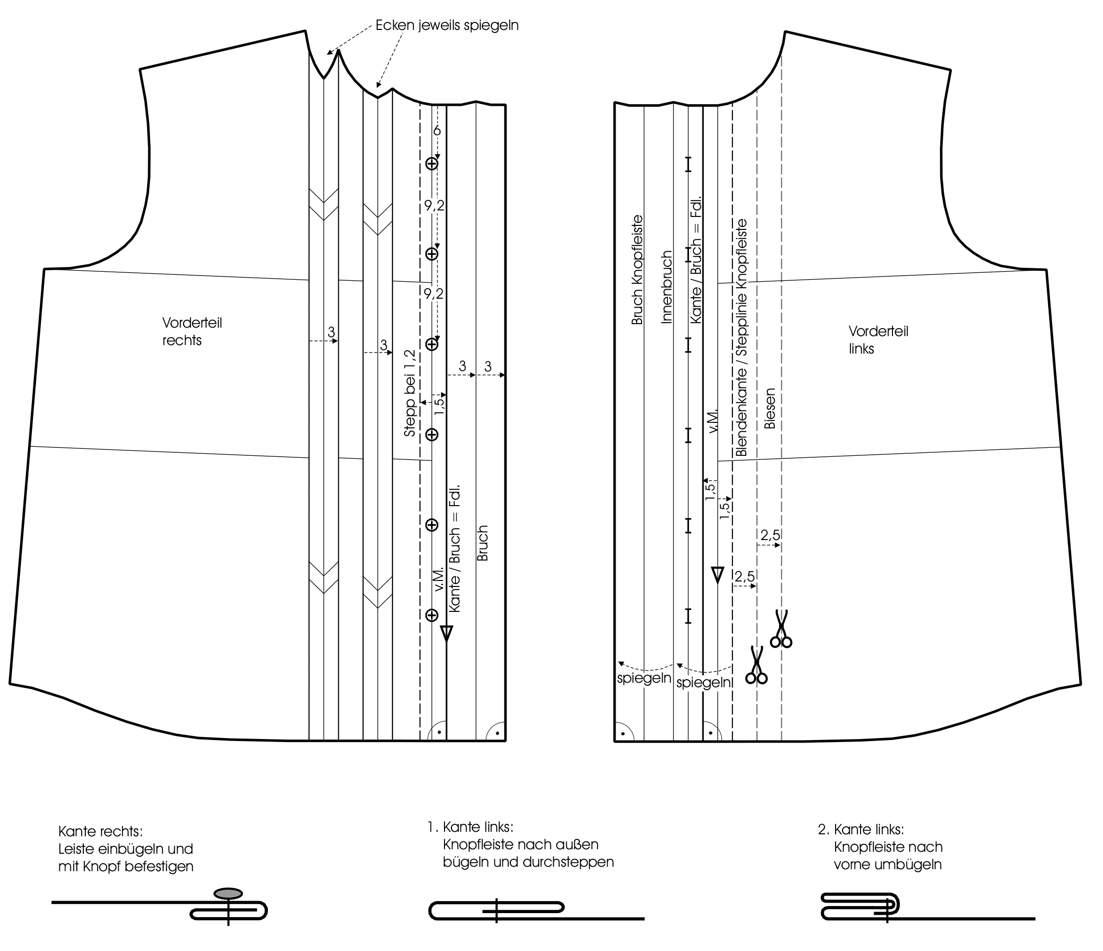 Die Schnittkonstruktion für ein Hemd ist zu sehen.