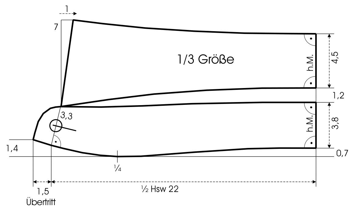 Die Schnittkonstruktion für einen Kragen ist zu sehen.