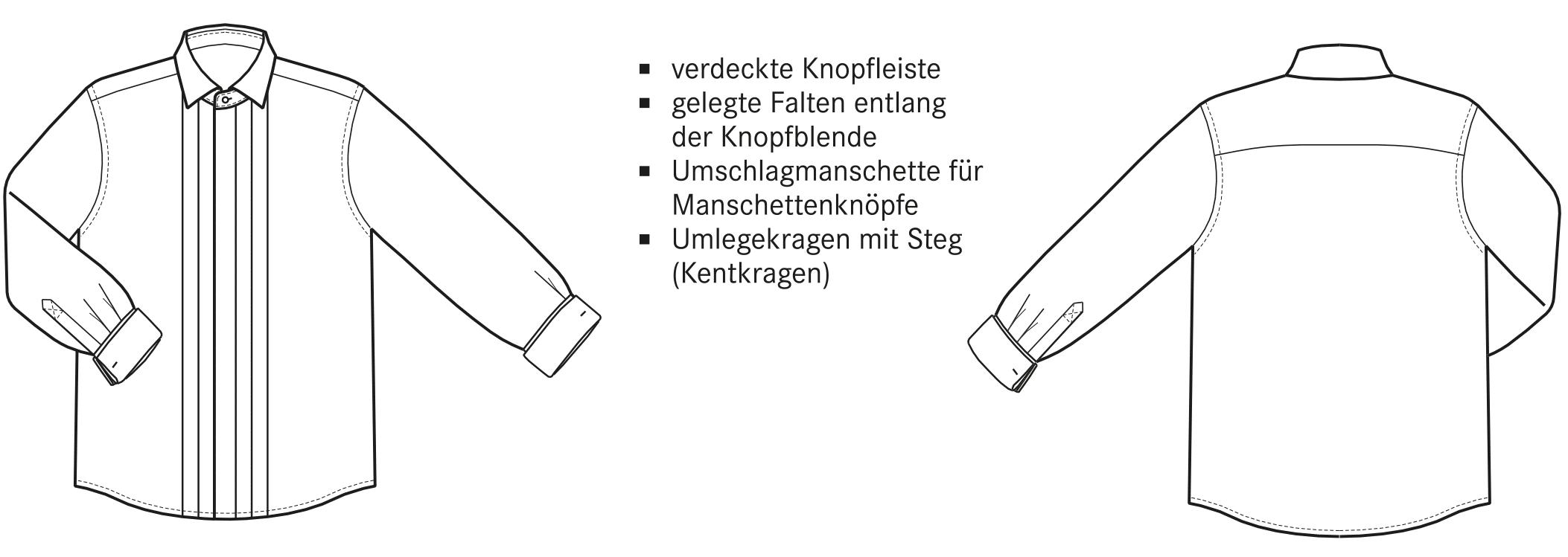 Die Vorder- und Rückansicht eines Smokinghemdes in Form einer technischen Zeichnung.