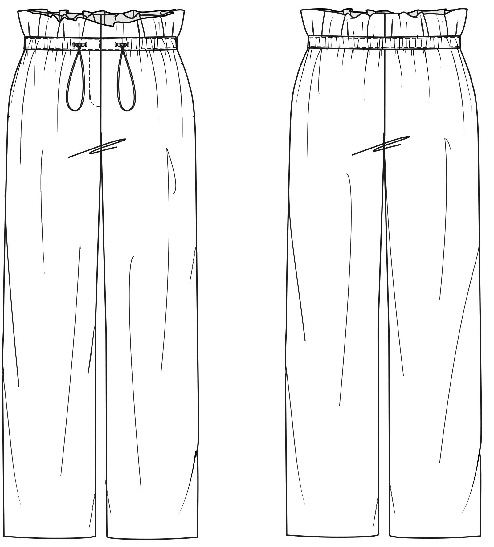 Die Vorder- und Rückansicht der technische Zeichnung einer Hose ist zu sehen. Diesen Schnitt findet man auf einem Schnittmusterbogen.
