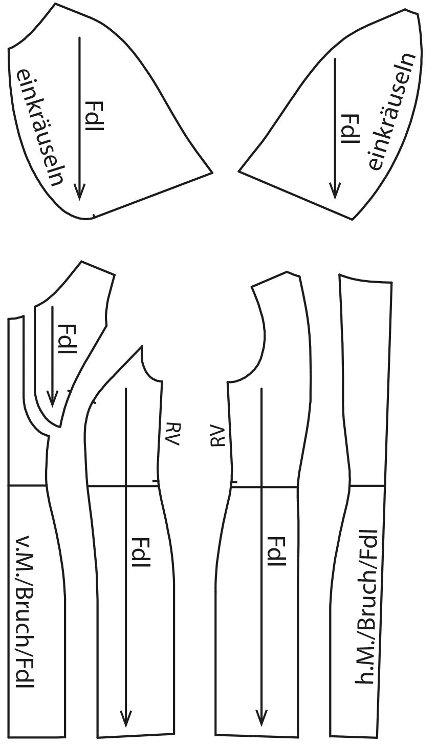 Zu sehen sind die fertigen Schnittteile auf dem Schnittmusterbogen für das Modell Kleid mit Ärmelvarianten.