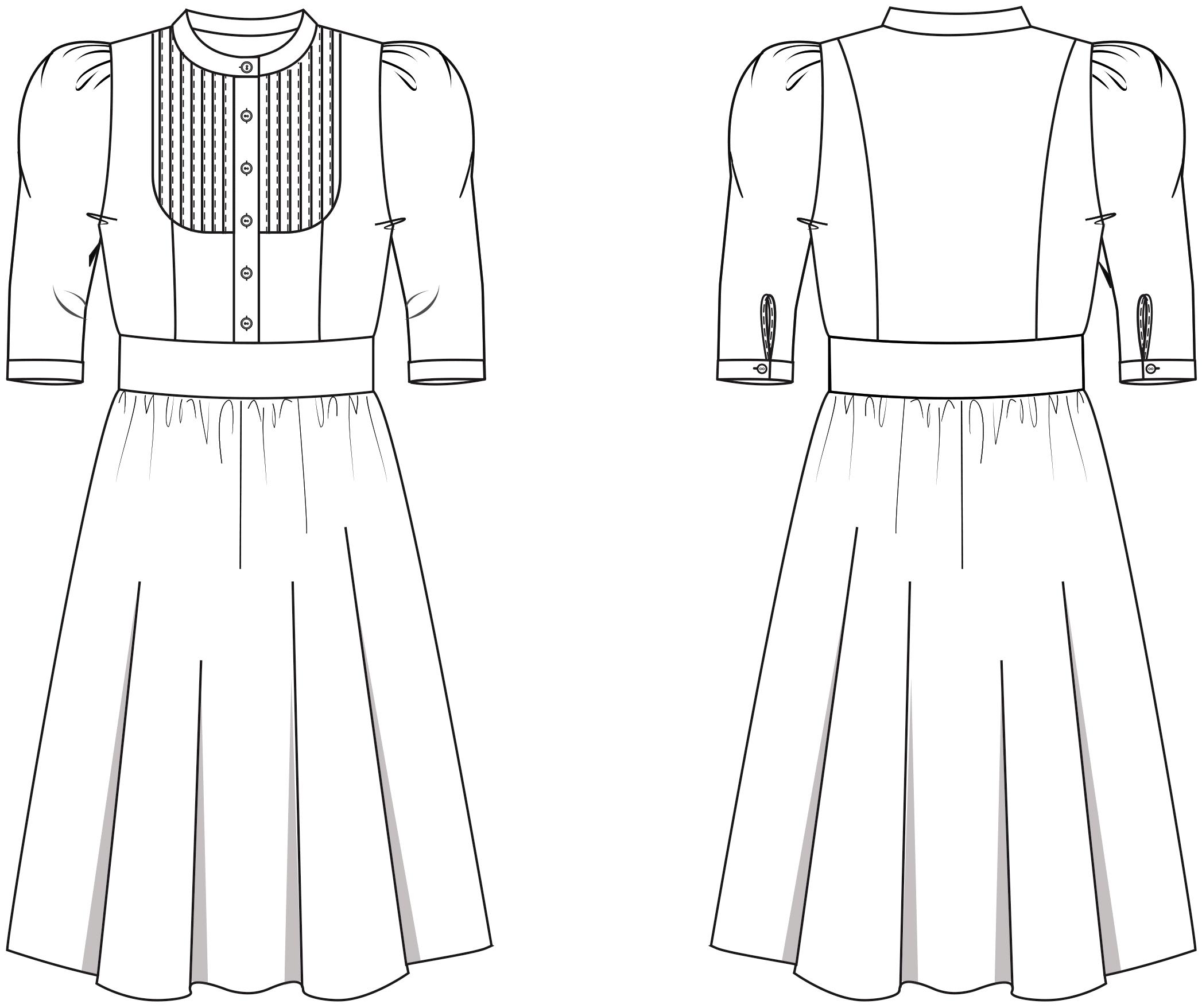 Die Vorder- und Rückansicht der technische Zeichnung eines Trachtenkleides ist zu sehen. Diesen Schnitt findet man auf einem Schnittmusterbogen.