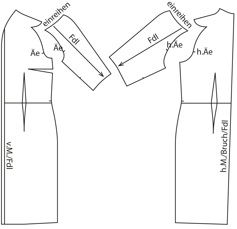 Zu sehen sind die fertigen Schnittteile auf dem Schnittmusterbogen für das Modell Trachtenkleid.