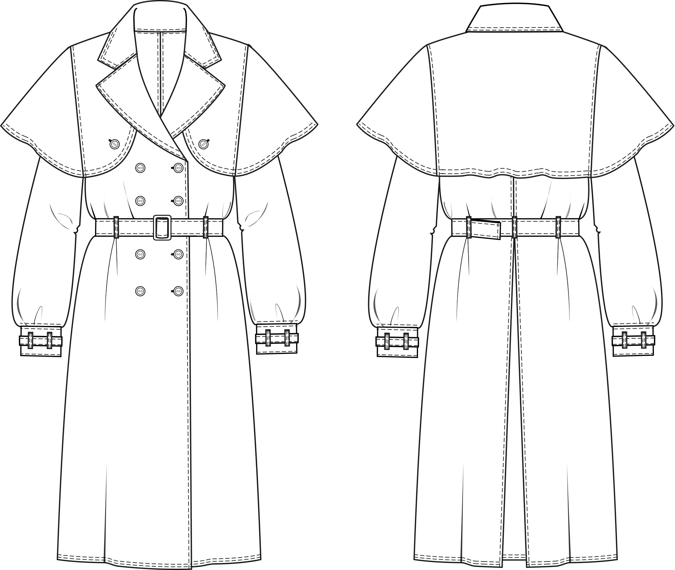 Das Foto zeigt die Vorder- und Rückansicht einer technischen Zeichnung von einem Trenchcoat. Sie dient als Vorlage für den Schnittmusterbogen.