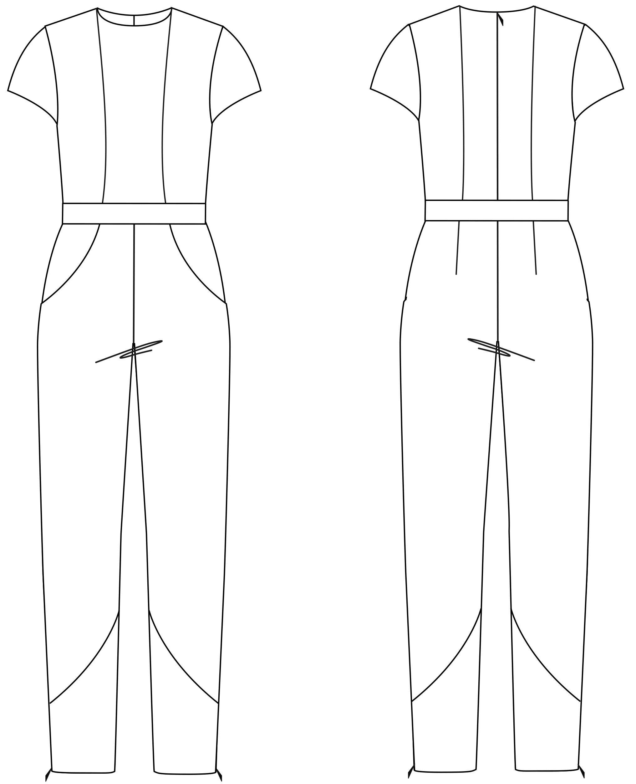 Die Vorder- und Rückansicht der technische Zeichnung eines Overalls ist zu sehen. Diesen Schnitt findet man auf einem Schnittmusterbogen.